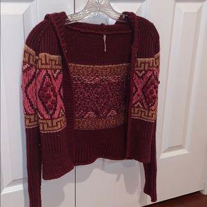 Free People Cardigan XS, burgundy sweater